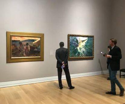 Imagen de este martes de la sala de la National Gallery donde está expuesta la obra 'Fin de jornada' del pintor valenciano Joaquín Sorolla.