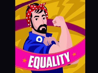 Ilustración de un hombre que apoya la lucha feminista.