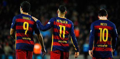 Suárez, Neymar y Messi, en una partido del pasado febrero.
