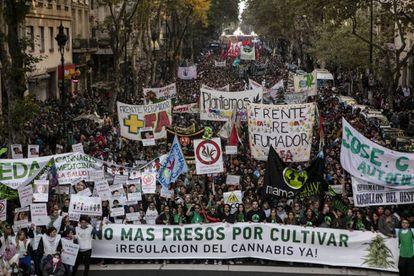 Madres y cultivadores se movilizan juntos por primera vez en la edición porteña de la marcha mundial de la marihuana.