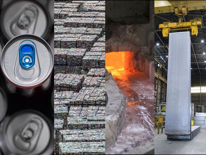 El ciclo del aluminio a partir del reciclaje de una lata de bebidas.