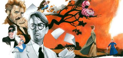 De izquierda a derecha, imágenes de 'El gatopardo', 'Alicia en el país de las maravillas', 'Matar a un ruiseñor', 'Cumbres borrascosas', 'Libro de buen amor', 'Lo que el viento se llevó' y 'El príncipito'.