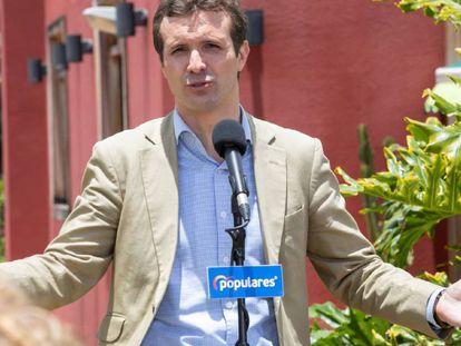 El presidente del PP, Pablo Casado, en un acto electoral en Canarias.