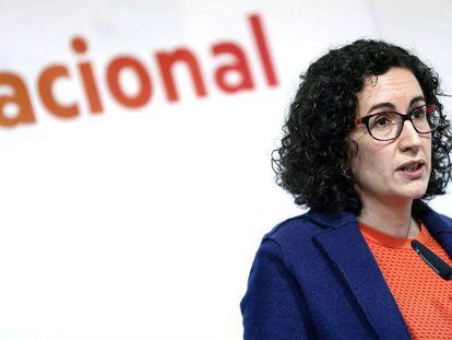 La secretaria general de ERC, Marta Rovira, este sábado en el Consejo nacional del partido.