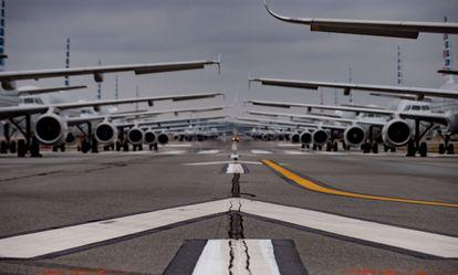 Aviones de American Airlines aparcados en el aeropuerto internacional de Pittsburgh, esta semana