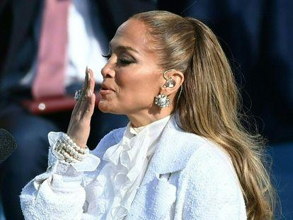 Jennifer Lopez, en el Capitolio durante su actuación en la toma de posesión de Joe Biden, el 20 de enero de 2020.