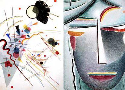 A la izquierda, <i>Sonido apacible,</i> de Kandinski, obra expuesta en el Thyssen cedida por el Guggenheim de Nueva York. A la derecha, <i>Rostro redentor,</i> de Jawlenski.