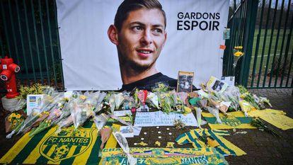 Homenaje en Nantes el pasado enero al futbolista Emiliano Sala.