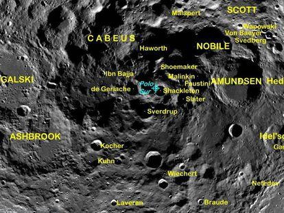 La región del polo sur de la Luna está repleta de cráteres que albergan agua helada