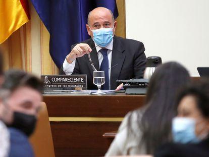 El coronel de la Guardia Civil Diego Pérez de los Cobos comparece en la Comisión del Congreso de los Diputados que investiga la operación de espionaje Kitchen.