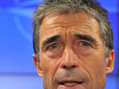 El secretario general de la OTAN, Anders Fogh Rasmussen, durante la rueda de prensa del pasado lunes.