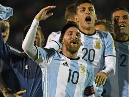Messi, en octubre, celebra la clasificación argentina.