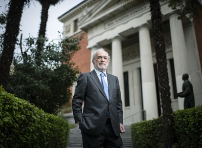 Santiago Muñoz Machado, director de la Real Academia Española y del 'Diccionario histórico', este martes en la sede de la RAE, en Madrid.