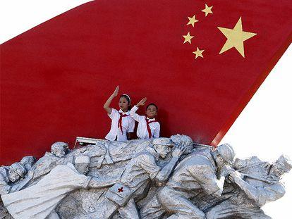 Unos niños en el desfile del 60 aniversario de la revolución, en 2019 en Pekín.