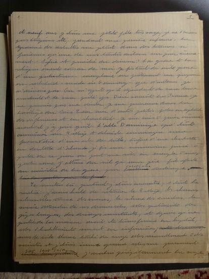 Primera página del manuscrito de 'Las inseparables'.