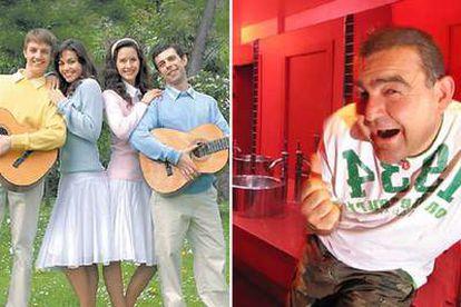 Los intérpretes de la canción <i>Amo a Laura</i>, a la izquierda, y el cantante El Koala.