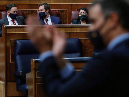 Sánchez interviene en el pleno frente a Abascal, Espinosa de los Monteros  y Macarena Olona.  EFE/Emilio Naranjo