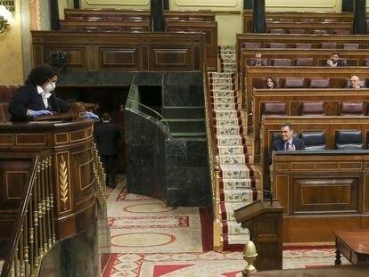 El presisdente del Gobierno, en la sesión especial del Congreso, para explicar la necesidad del estado de alarma.