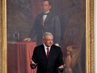 El presidente de México, Andrés Manuel López Obrador, en la presentación del tercer informe de Gobierno.