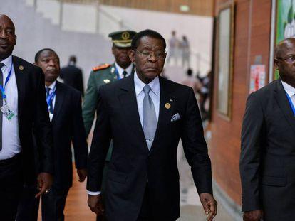 El presidente de Guinea Ecuatorial,  Teodoro Obiang Nguema, el pasado lunes en la cumbre de la Unión Africana en Addis Abeba.