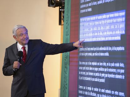 El presidente Andrés Manuel López Obrador, durante su conferencia de prensa de este 30 de junio de 2021.