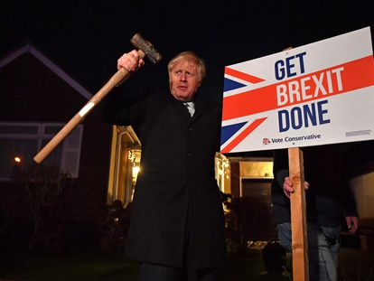 Boris Johnson promete culminar el Brexit durante la campaña electoral de diciembre de 2019.
