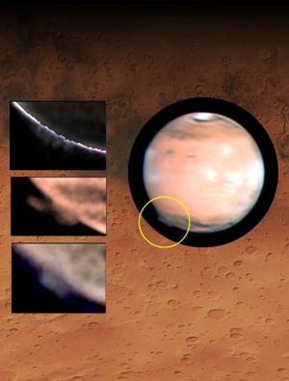 Una imagen compuesta de Marte con la nube formada sobre la región Terra Cimmeria