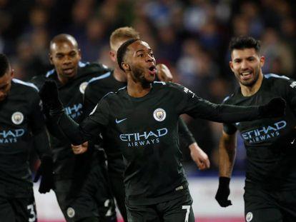 Sterling celebra el gol de la victoria.