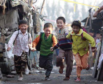 Un grupo de niños en la ciudad de Shijiazhuang.