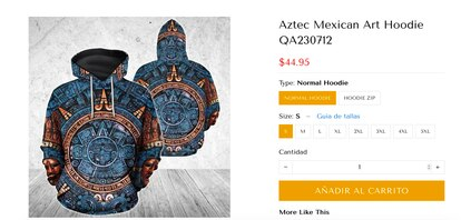 Una prenda con la imagen de la Piedra del Sol se vende en 45 dólares (unos 900 pesos mexicanos) en una página estadounidense.