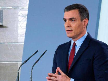 Pedro Sánchez, durante una comparecencia de prensa.