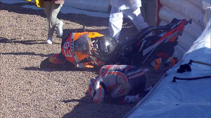 Captura del accidente de Marc Márquez en el cirucito de Jerez.