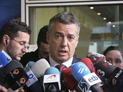 Iñigo Urkullu, en declaraciones a la prensa a la entrada de la sede de la Comisión Europea en Bruselas.