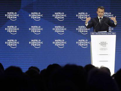 El presidente francés, Emmanuel Macron, durante su discurso en el Foro Económico Mundial en Davos (Suisa), el pasado 24 de enero.