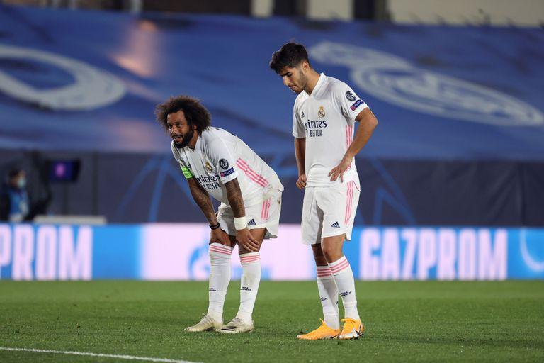 Marcelo y Marco Asensio, este miércoles en el Estadio Alfredo Di Stéfano ante el Shakhtar.