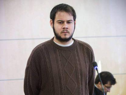 Pablo Hasél, durante el juicio en la Audiencia Nacional.