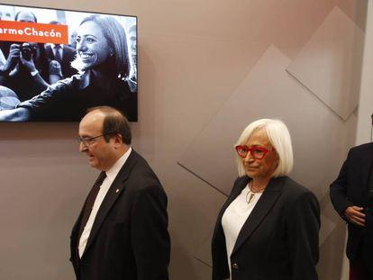 Miquel Iceta y los padres de Carme Chacón; Esther Piqueras y Baltasar Chacón.