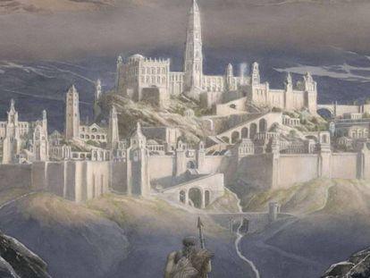 Detalle de la portada de 'La caída de Gondolin'.