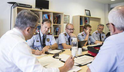 Reunión de trabajo de la cúpula de Mossos sobre la delincuencia en Barcelona.