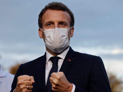 Emmanuel Macron, este viernes en Pontoise, cerca de París.