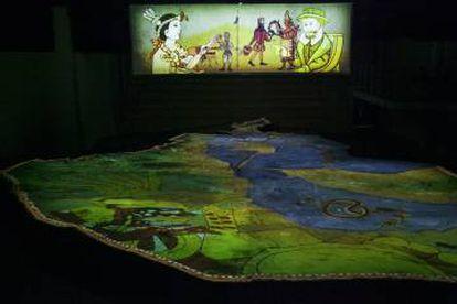 La proyección de la antigua Tenochtitlan sobre la maqueta actual.