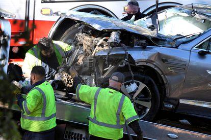 El coche de Tiger Woods, tras el accidente del pasado 23 de febrero.