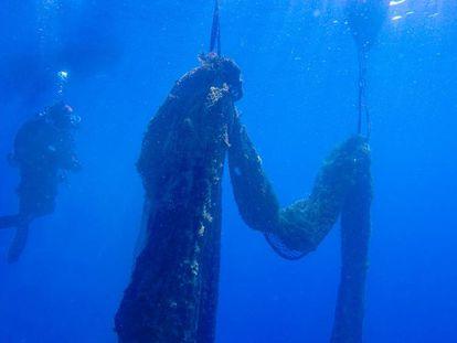 El proyecto de la UB recoge redes de pesca de los fondos marinos del Mediterráneo.