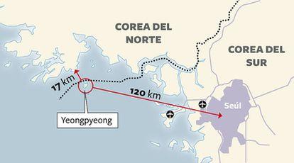 Lugar donde ha tenido lugar el ataque de Corea del Norte contra Corea del Sur