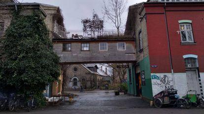Vista de una calle de Christiania, 2019