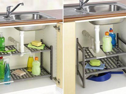 Guarda de forma conveniente todos los objetos y productos de limpieza en la cocina mediante esta estantería.