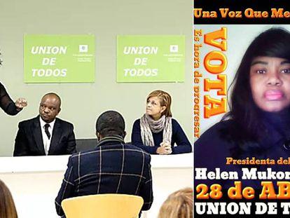 Helen Mukoro durante una intervención con su partido y en un cartel electoral.