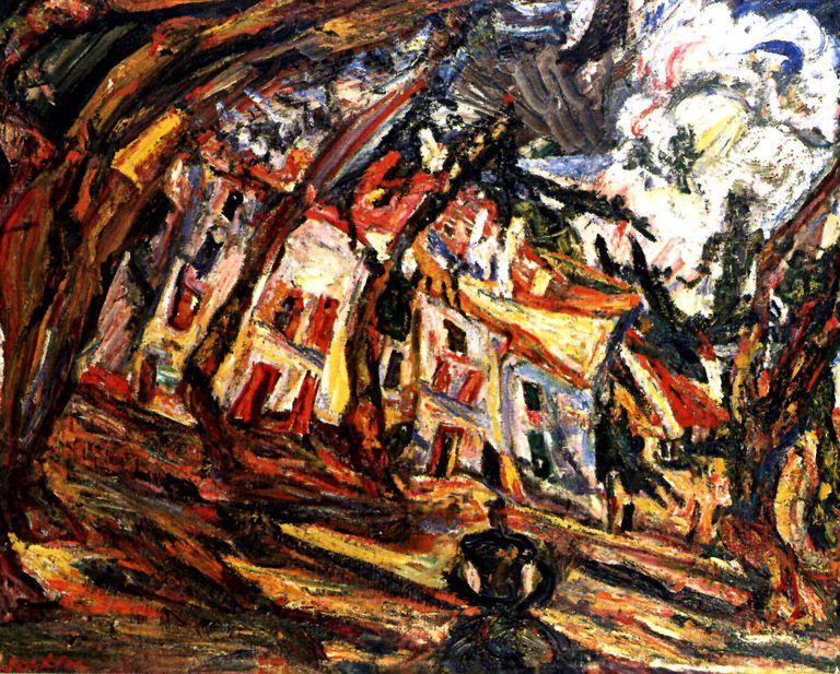 'Les platanes à Céret, Place de la liberté', óleo sobre tela de Chaïm Soutine de 1920. Museo israelí de Jerusalém.