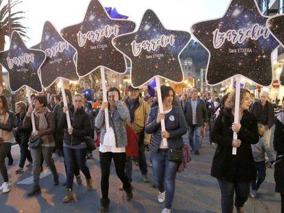 Manifestación la semana pasada en San Sebastián en apoyo a la reclusa de ETA Sara Majarenas.