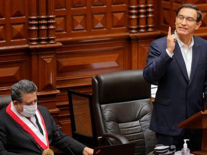 El presidente Martín Vizcarra en el Congreso peruano, el 18 de septiembre.